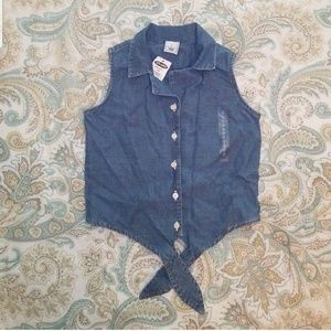 Sleeveless Jean Button Up